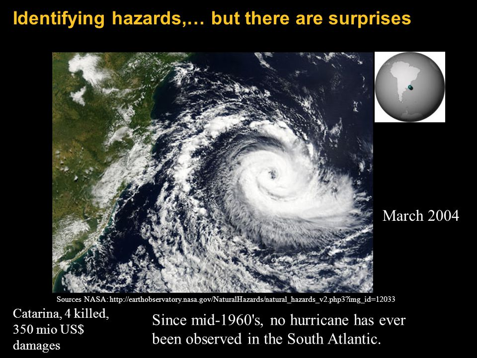 Since mid-1960's, no hurricane has ever been observed in the South Atlantic. Sources NASA: http://earthobservatory.nasa.gov/NaturalHazards/natural_haz