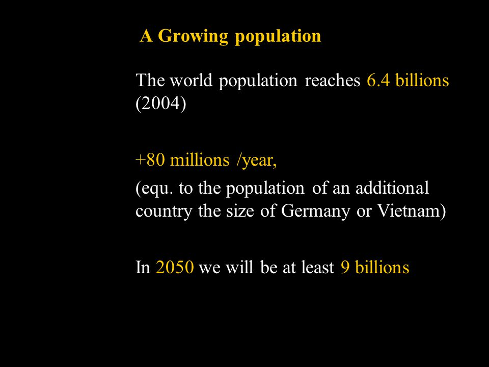 A Growing population The world population reaches 6.4 billions (2004) +80 millions /year, (equ.