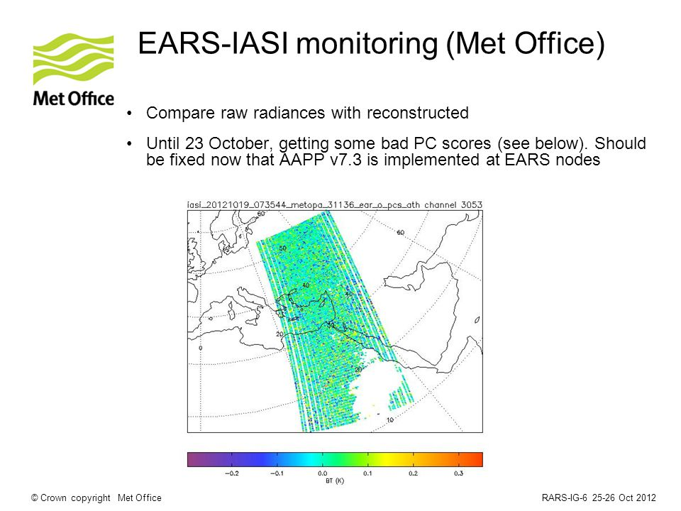 RARS-IG-6 25-26 Oct 2012© Crown copyright Met Office EARS-IASI monitoring (Met Office) Compare raw radiances with reconstructed Until 23 October, getting some bad PC scores (see below).