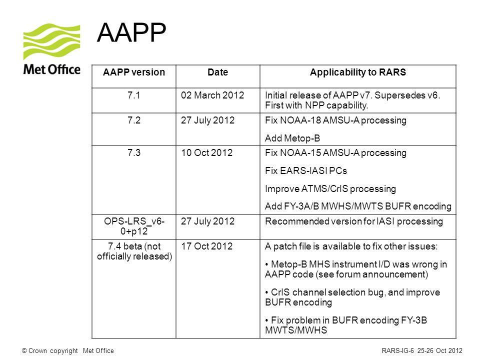 RARS-IG-6 25-26 Oct 2012© Crown copyright Met Office