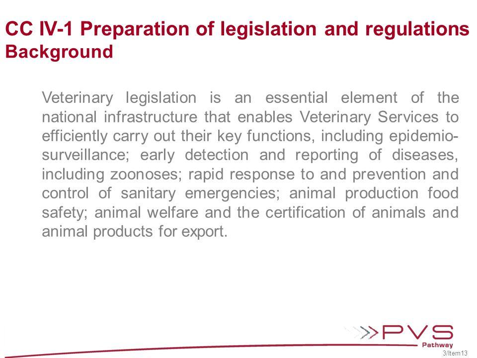 CC IV-1 Preparation of legislation and regulations Civil law Common law Bi-juridical (civil and common law) Customary law Islamic law (sharia) 4/Item13