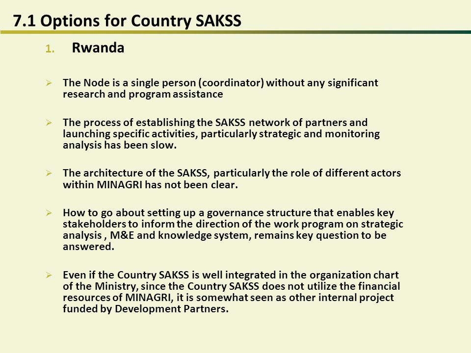 7.2.Options for Country SAKSS 2.