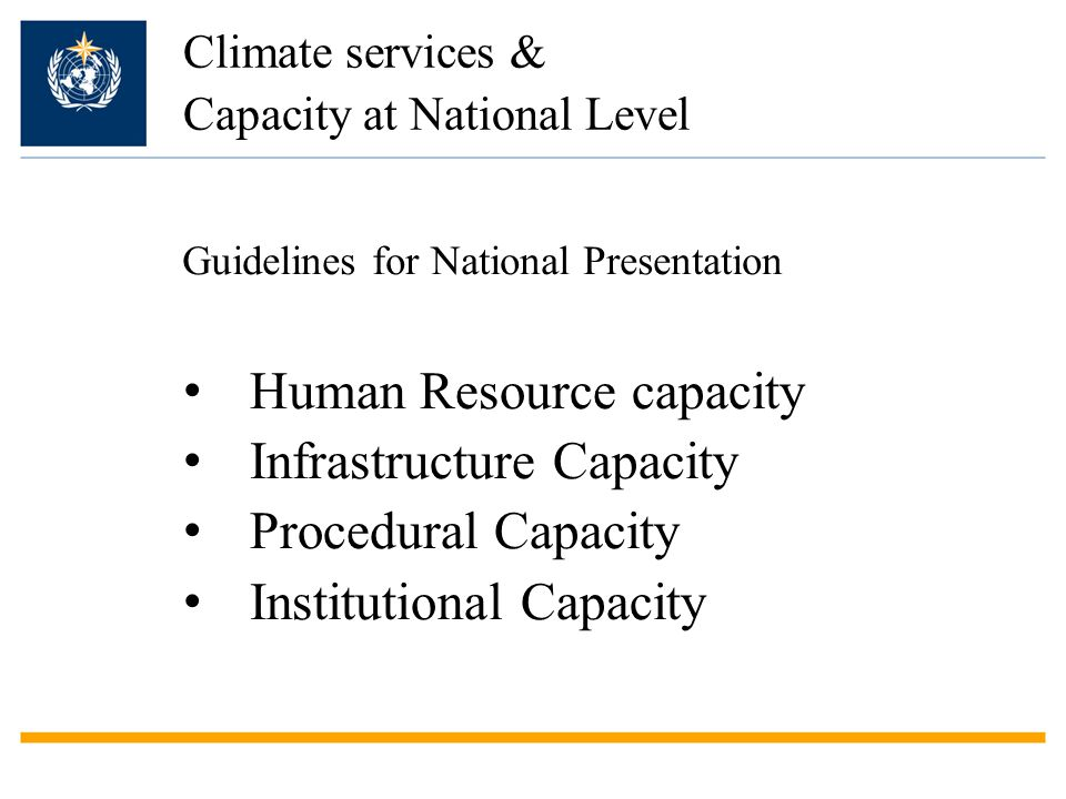 Climate services & Capacity at National Level Human Resource capacity Infrastructure Capacity Procedural Capacity Institutional Capacity Guidelines for National Presentation