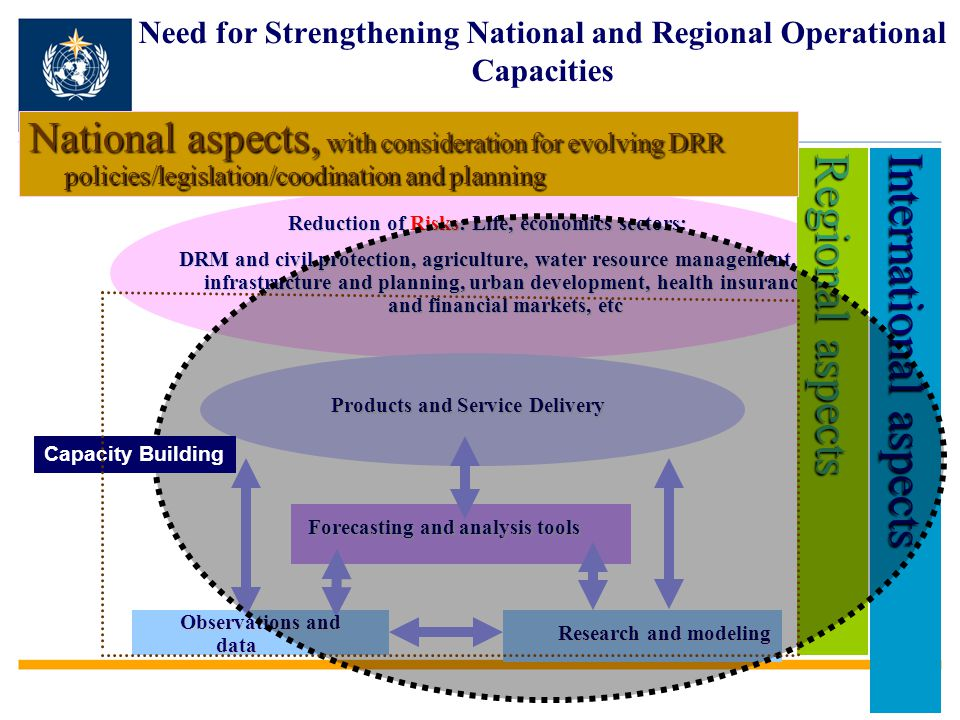 Reduction of Risks: Life, economics sectors: DRM and civil protection, agriculture, water resource management, infrastructure and planning, urban development, health insurance and financial markets, etc Research and modeling Observations and data Forecasting and analysis tools Regional aspects Products and Service Delivery International aspects Capacity Building Need for Strengthening National and Regional Operational Capacities National aspects, with consideration for evolving DRR policies/legislation/coodination and planning