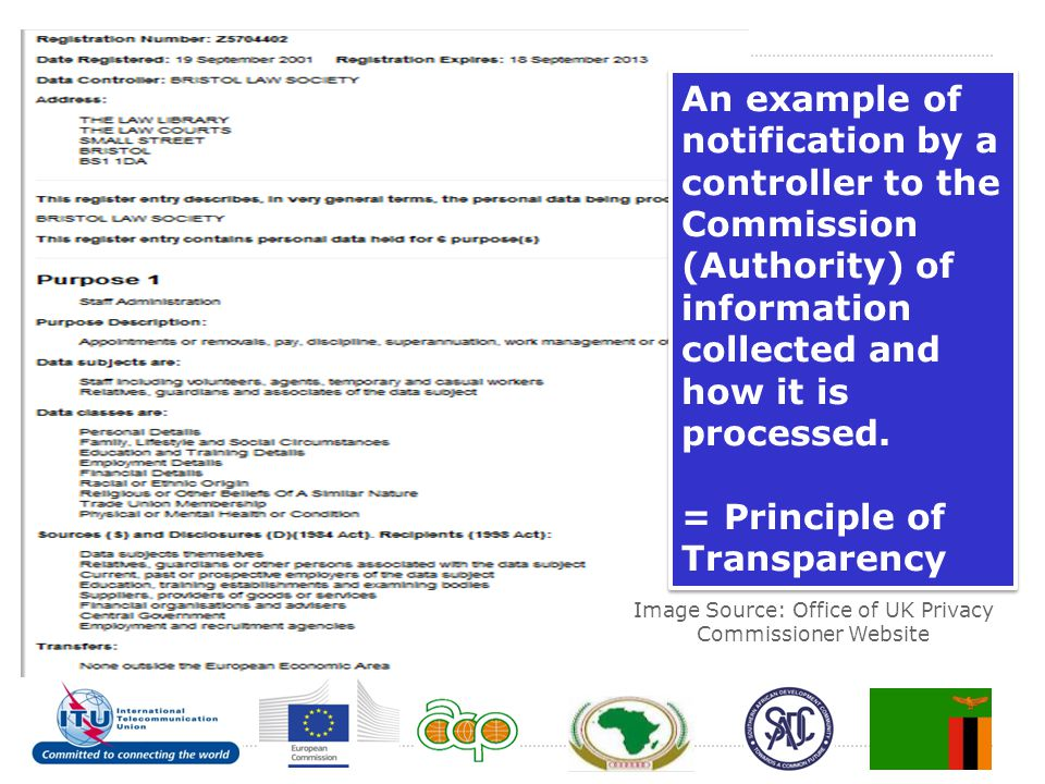 An example of notification by a controller to the Commission (Authority) of information collected and how it is processed. = Principle of Transparency