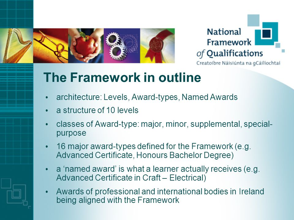 The Framework in outline architecture: Levels, Award-types, Named Awards a structure of 10 levels classes of Award-type: major, minor, supplemental, special- purpose 16 major award-types defined for the Framework (e.g.