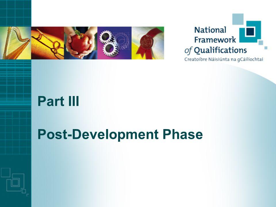 Part III Post-Development Phase