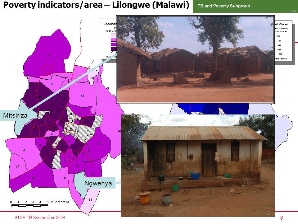 6 STOP TB Symposium 2009 Poverty indicators/area – Lilongwe (Malawi) Mitsiriza Ngwenya