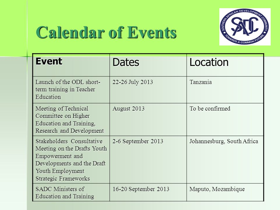 Calendar of Events EventDatesLocation Launch of the ODL short- term training in Teacher Education 22-26 July 2013 Tanzania Meeting of Technical Committee on Higher Education and Training, Research and Development August 2013 To be confirmed Stakeholders Consultative Meeting on the Drafts Youth Empowerment and Developments and the Draft Youth Employment Strategic Frameworks 2-6 September 2013 Johannesburg, South Africa SADC Ministers of Education and Training 16-20 September 2013 Maputo, Mozambique