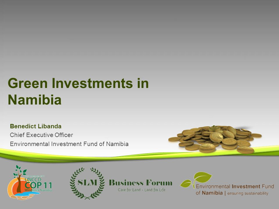 Green Investments in Namibia Benedict Libanda Chief Executive Officer Environmental Investment Fund of Namibia