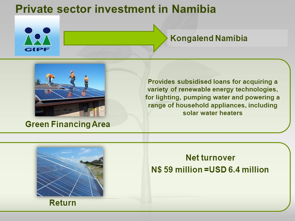 Green Financing Area Net turnover N$ 59 million =USD 6.4 million Private sector investment in Namibia Provides subsidised loans for acquiring a variet