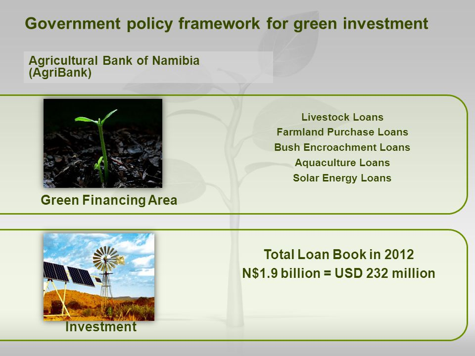 Green Financing Area Total Loan Book in 2012 N$1.9 billion = USD 232 million Government policy framework for green investment Livestock Loans Farmland