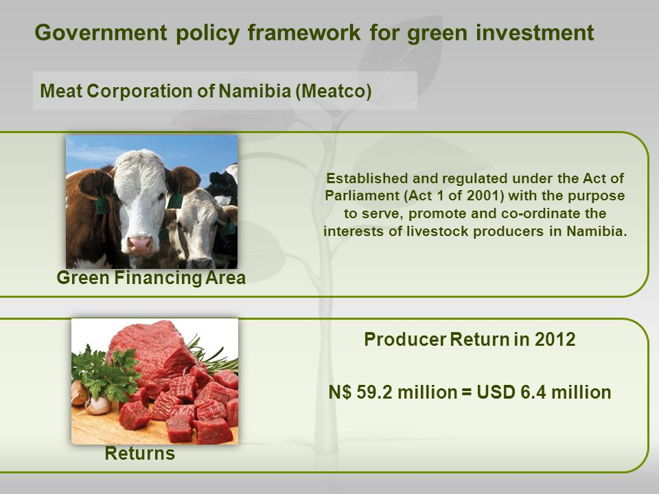 Green Financing Area Producer Return in 2012 N$ 59.2 million = USD 6.4 million Government policy framework for green investment Established and regula