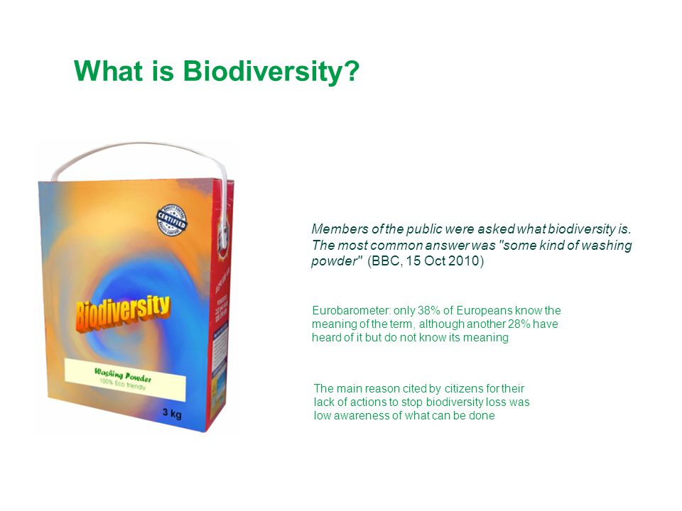 What is Biodiversity? Eurobarometer: only 38% of Europeans know the meaning of the term, although another 28% have heard of it but do not know its mea