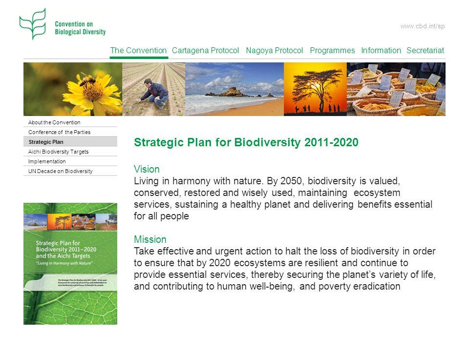 The Convention Cartagena Protocol Nagoya Protocol Programmes Information Secretariat www.cbd.int/sp Strategic Plan for Biodiversity 2011-2020 Vision Living in harmony with nature.