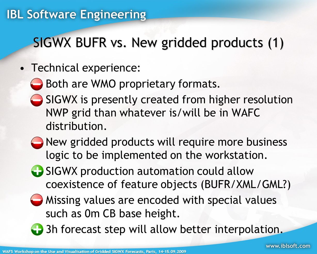 WAFS Workshop on the Use and Visualisation of Gridded SIGWX Forecasts, Paris, SIGWX BUFR vs.