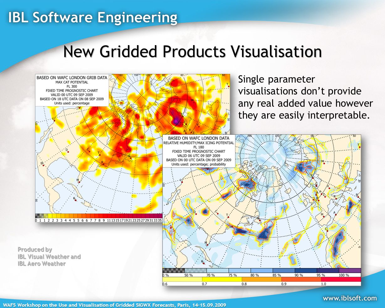 WAFS Workshop on the Use and Visualisation of Gridded SIGWX Forecasts, Paris, New Gridded Products Visualisation Produced by IBL Visual Weather and IBL Aero Weather Single parameter visualisations don't provide any real added value however they are easily interpretable.