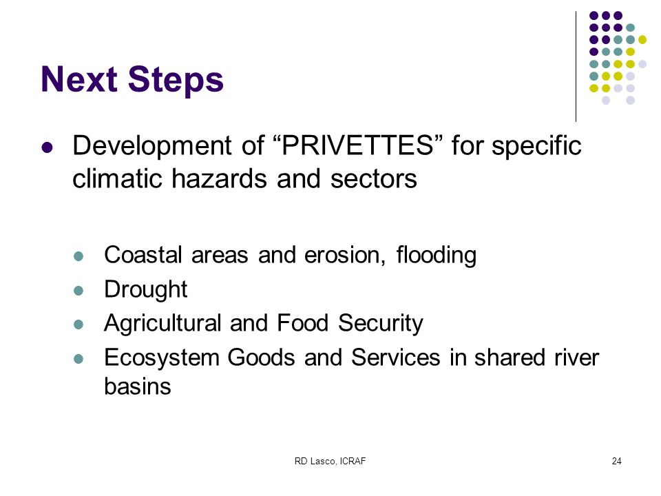 RD Lasco, ICRAF24 Next Steps Development of PRIVETTES for specific climatic hazards and sectors Coastal areas and erosion, flooding Drought Agricultural and Food Security Ecosystem Goods and Services in shared river basins