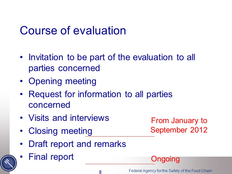 Federal Agency for the Safety of the Food Chain Course of evaluation Invitation to be part of the evaluation to all parties concerned Opening meeting Request for information to all parties concerned Visits and interviews Closing meeting Draft report and remarks Final report From January to September 2012 Ongoing 8