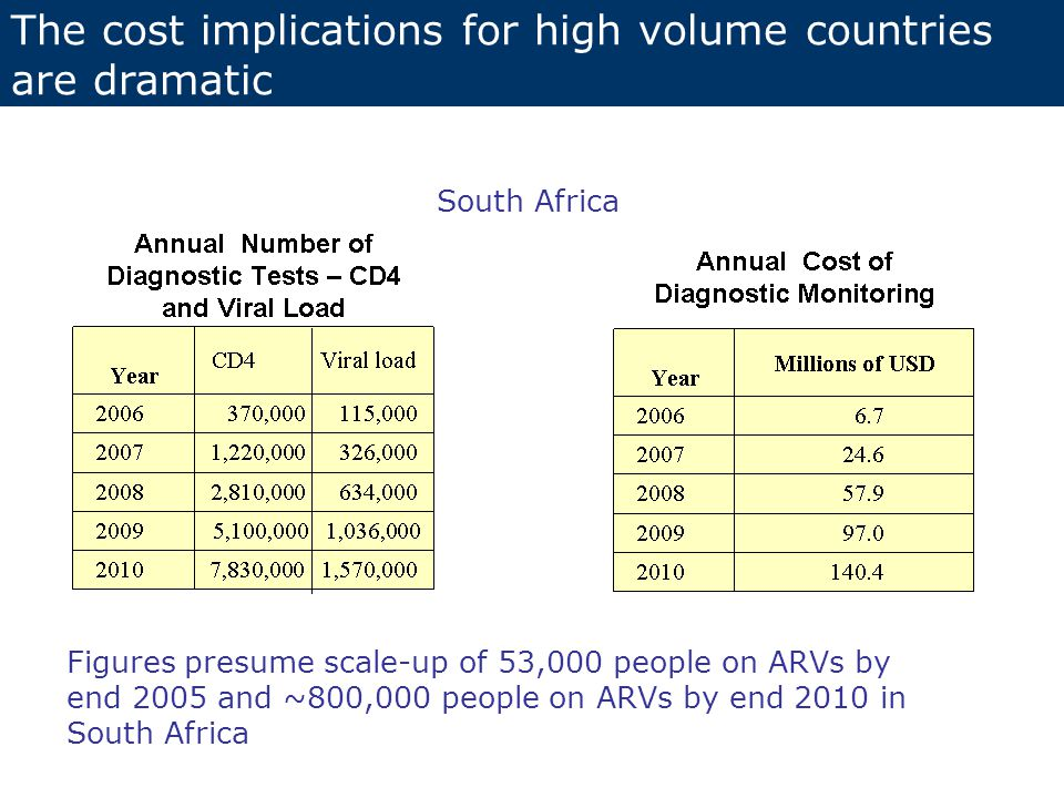 South Africa Figures presume scale-up of 53,000 people on ARVs by end 2005 and ~800,000 people on ARVs by end 2010 in South Africa The cost implications for high volume countries are dramatic