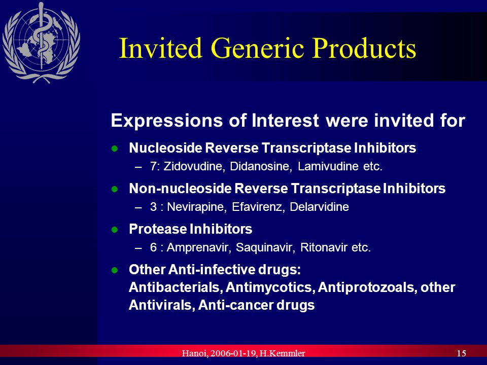 Hanoi, , H.Kemmler15 Invited Generic Products Expressions of Interest were invited for Nucleoside Reverse Transcriptase Inhibitors –7: Zidovudine, Didanosine, Lamivudine etc.
