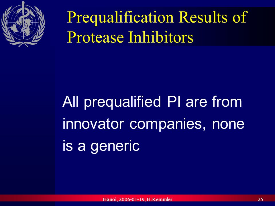 Hanoi, , H.Kemmler25 Prequalification Results of Protease Inhibitors All prequalified PI are from innovator companies, none is a generic