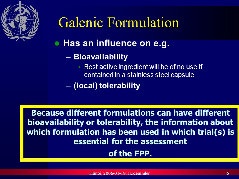 Hanoi, 2006-01-19, H.Kemmler7 Information on the Appropriate and Safe Use Best active ingredient in best galenical formulation will be of no use if used for wrong condition, e.g.