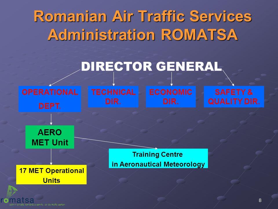 8 Romanian Air Traffic Services Administration ROMATSA TECHNICAL DIR. AERO MET Unit 17 MET Operational Units DIRECTOR GENERAL OPERATIONAL DEPT. ECONOM
