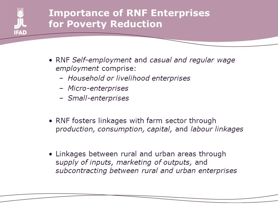 Importance of RNF Enterprises for Poverty Reduction RNF Self-employment and casual and regular wage employment comprise: –Household or livelihood enterprises –Micro-enterprises –Small-enterprises RNF fosters linkages with farm sector through production, consumption, capital, and labour linkages Linkages between rural and urban areas through supply of inputs, marketing of outputs, and subcontracting between rural and urban enterprises
