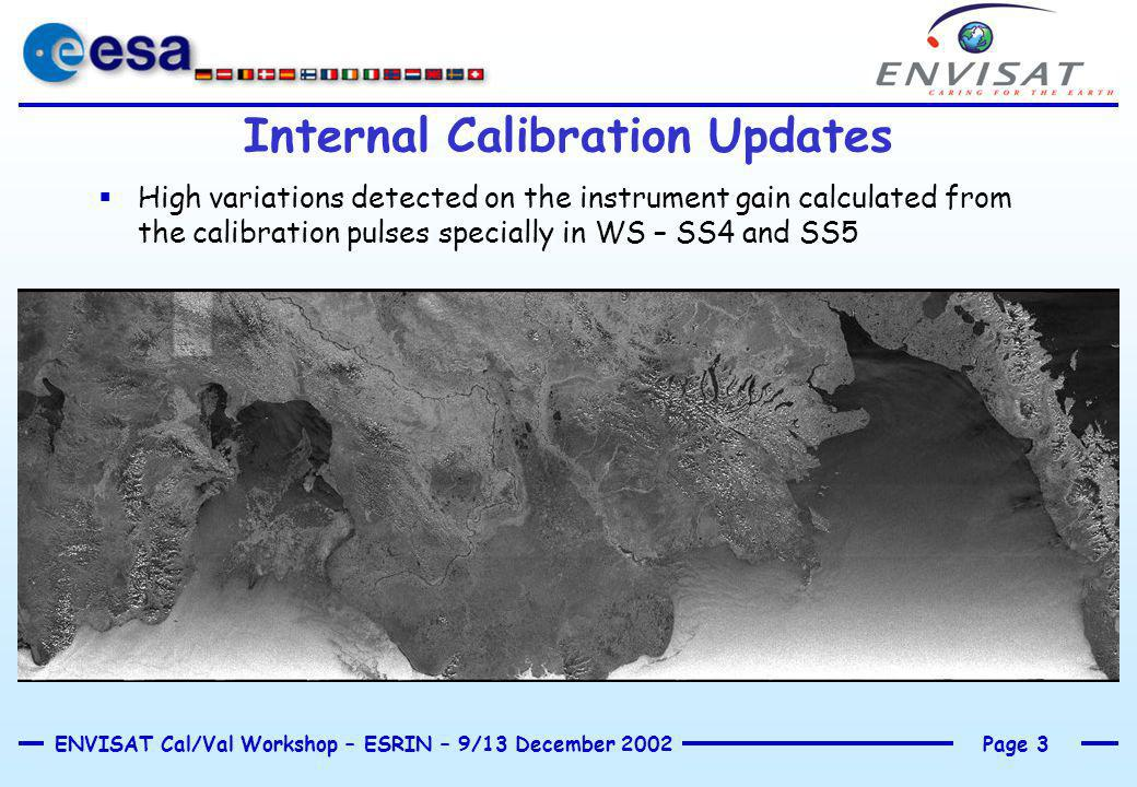 Page 3ENVISAT Cal/Val Workshop – ESRIN – 9/13 December 2002 Internal Calibration Updates  High variations detected on the instrument gain calculated from the calibration pulses specially in WS – SS4 and SS5