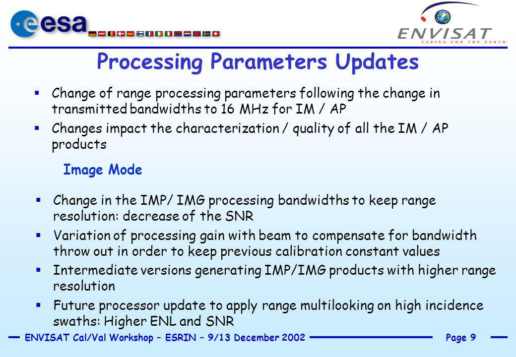 Page 9ENVISAT Cal/Val Workshop – ESRIN – 9/13 December 2002 Processing Parameters Updates  Change of range processing parameters following the change in transmitted bandwidths to 16 MHz for IM / AP  Changes impact the characterization / quality of all the IM / AP products Image Mode  Change in the IMP/ IMG processing bandwidths to keep range resolution: decrease of the SNR  Variation of processing gain with beam to compensate for bandwidth throw out in order to keep previous calibration constant values  Intermediate versions generating IMP/IMG products with higher range resolution  Future processor update to apply range multilooking on high incidence swaths: Higher ENL and SNR