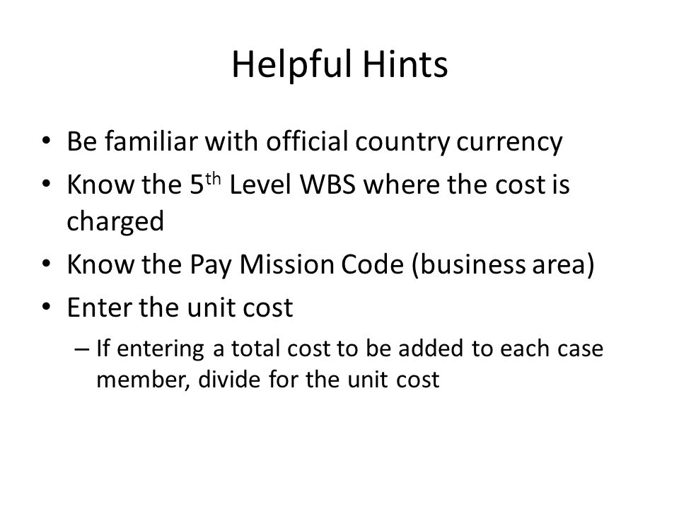 Helpful Hints Be familiar with official country currency Know the 5 th Level WBS where the cost is charged Know the Pay Mission Code (business area) E