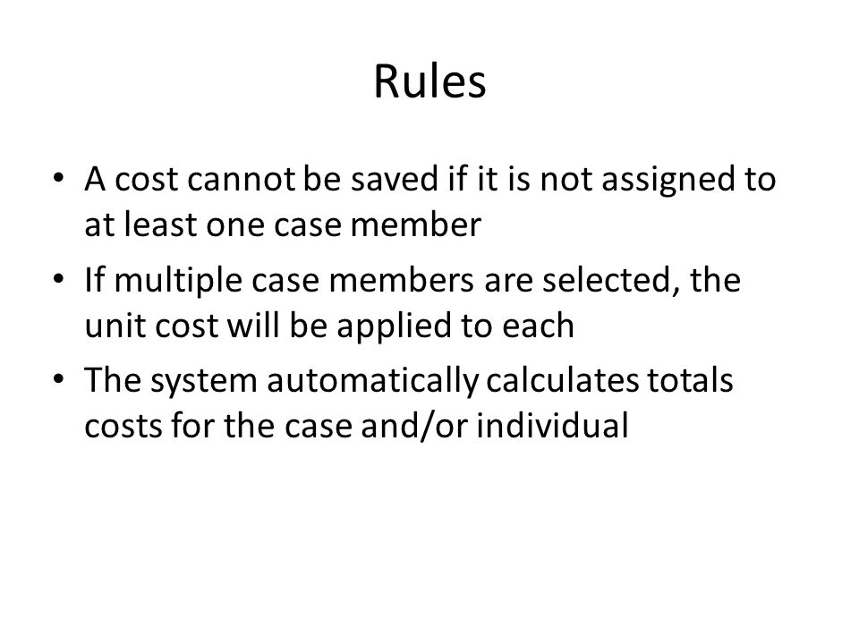 Individual Cost Summary