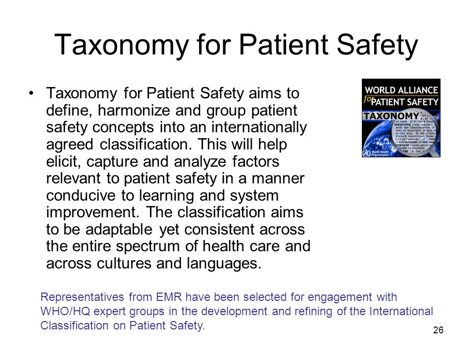26 Taxonomy for Patient Safety Taxonomy for Patient Safety aims to define, harmonize and group patient safety concepts into an internationally agreed classification.