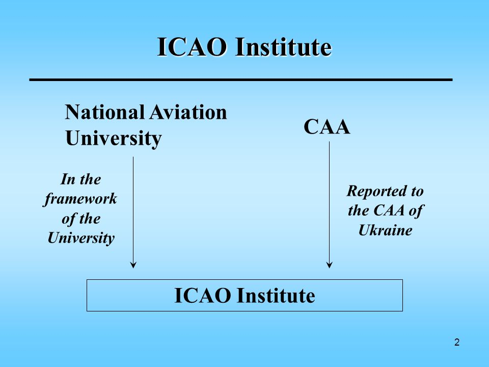 2 ICAO Institute National Aviation University CAA ICAO Institute In the framework of the University Reported to the CAA of Ukraine