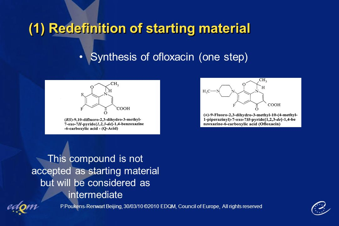 (1) Redefinition of starting material P.Poukens-Renwart Beijing, 30/03/10 ©2010 EDQM, Council of Europe, All rights reserved Synthesis of ofloxacin (o