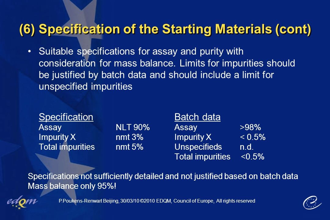 (6) Specification of the Starting Materials (cont) Suitable specifications for assay and purity with consideration for mass balance. Limits for impuri