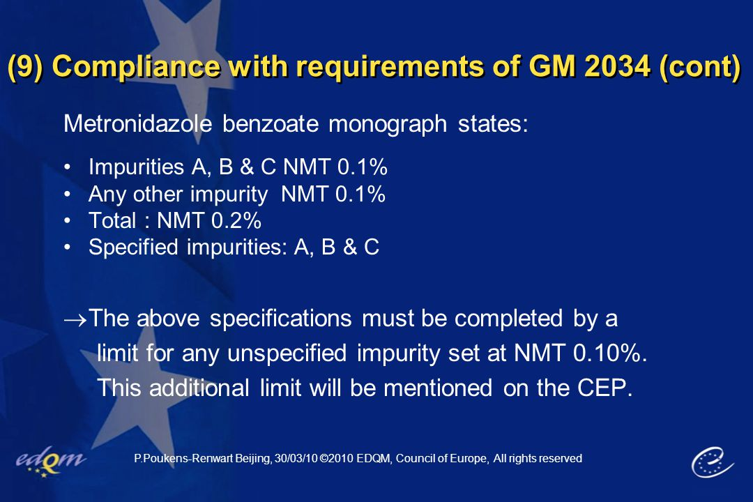 (9) Compliance with requirements of GM 2034 (cont) Metronidazole benzoate monograph states: Impurities A, B & C NMT 0.1% Any other impurity NMT 0.1% T
