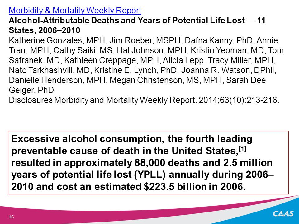 16 Morbidity & Mortality Weekly Report Alcohol-Attributable Deaths and Years of Potential Life Lost — 11 States, 2006–2010 Katherine Gonzales, MPH, Jim Roeber, MSPH, Dafna Kanny, PhD, Annie Tran, MPH, Cathy Saiki, MS, Hal Johnson, MPH, Kristin Yeoman, MD, Tom Safranek, MD, Kathleen Creppage, MPH, Alicia Lepp, Tracy Miller, MPH, Nato Tarkhashvili, MD, Kristine E.