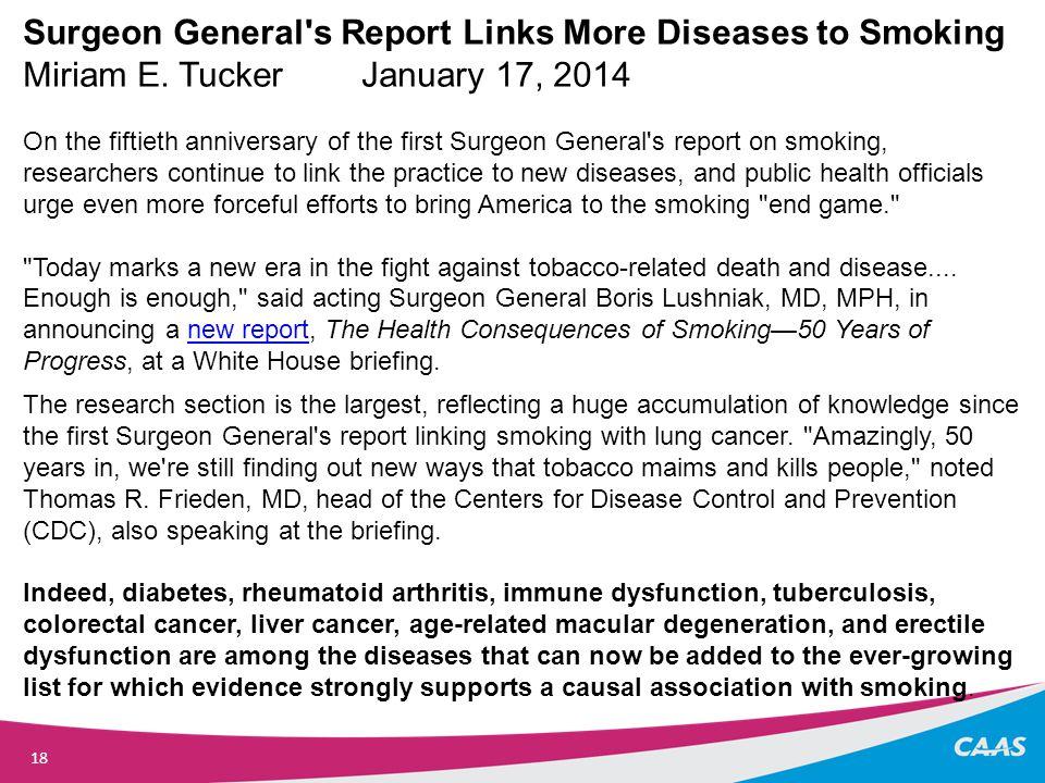 18 Surgeon General s Report Links More Diseases to Smoking Miriam E.