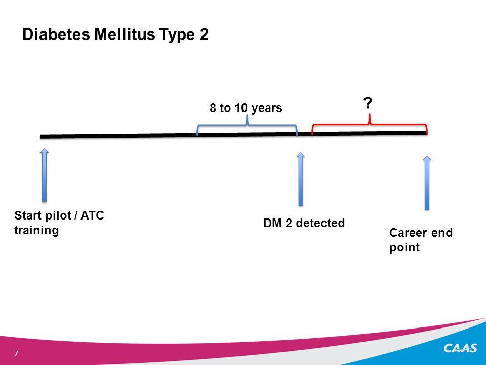 7 Start pilot / ATC training DM 2 detected Career end point Diabetes Mellitus Type 2 8 to 10 years