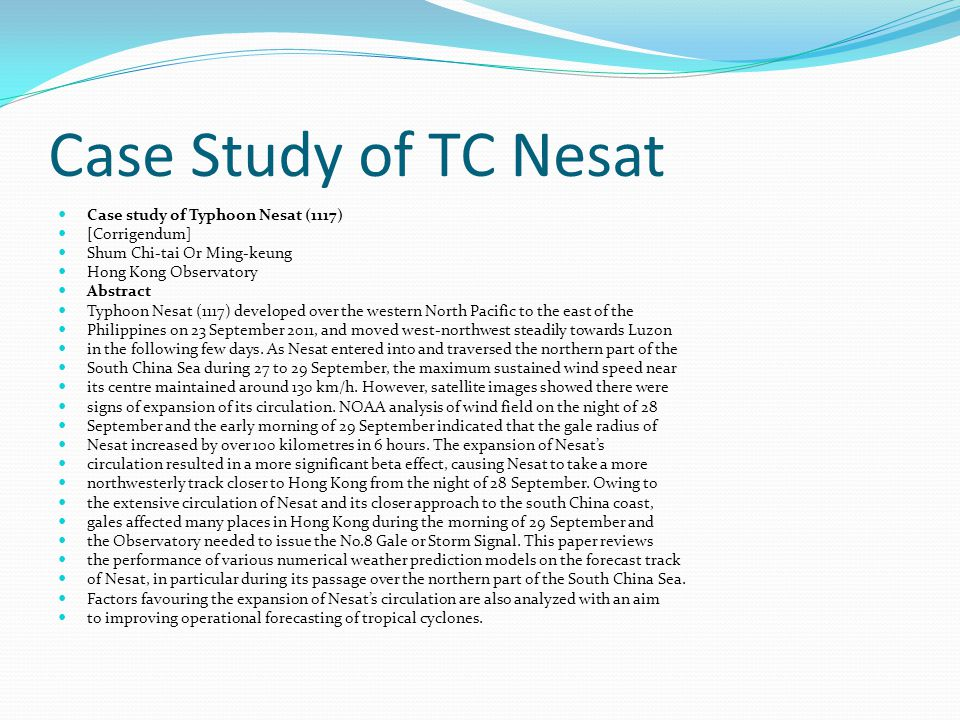 Case study TC- Nesat Conclusions.Purpose. Who would it be useful to.