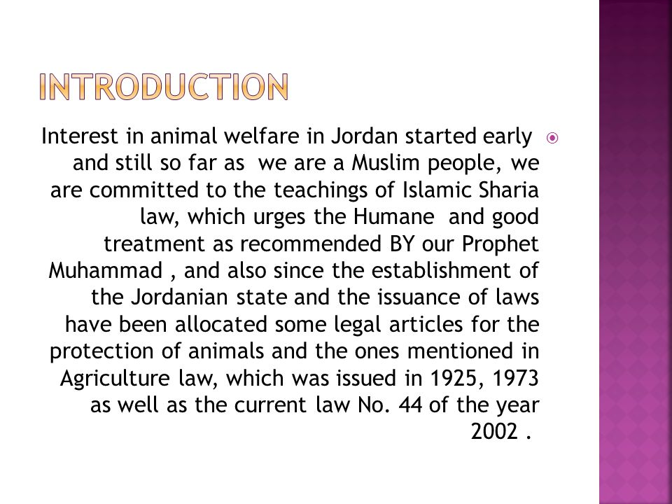  Special By-LOW have been issued for Animal Welfare under Article 57 of the current Agriculture law on the bases of the teachings of Islamic Sharia law and the principles of the five freedoms of animal welfare  1 - Agriculture temporary law No.