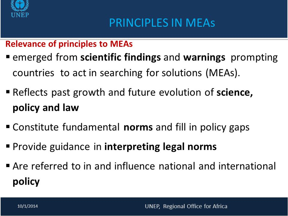 PRINCIPLES IN MEAs Relevance of principles to MEAs  emerged from scientific findings and warnings prompting countries to act in searching for solutio