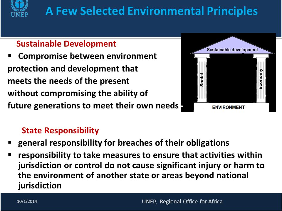 Policy options for MEAs (2) 10/1/2014 UNEP, Regional Office for Africa At the national level  Remove inter-institutional conflicts - reduce institutional fragmentation and overlaps, promote synergies among related MEAs.