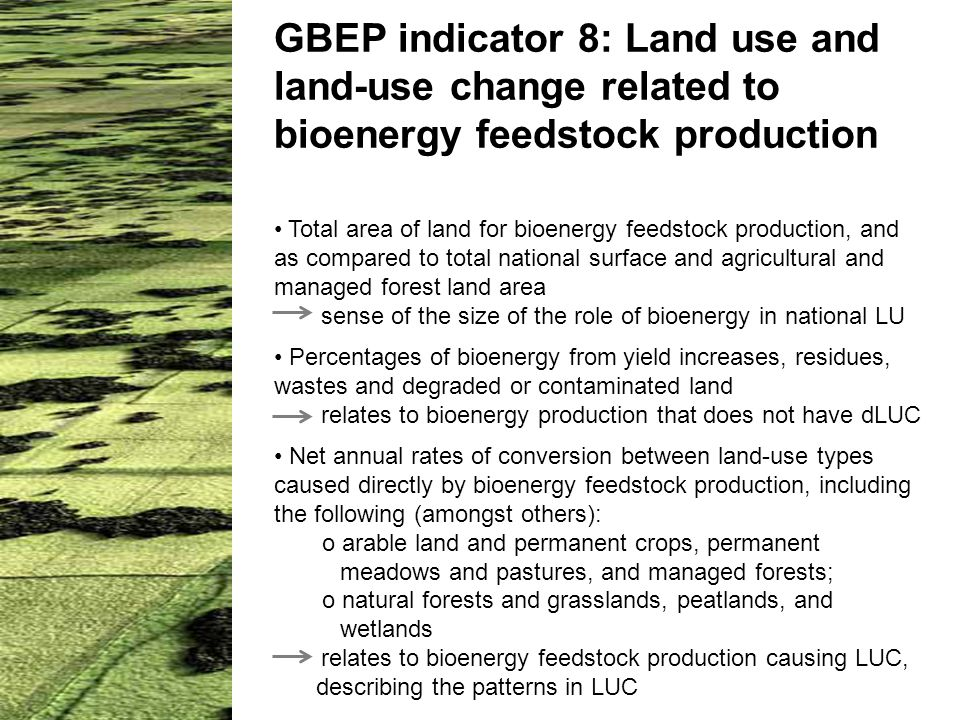 GBEP indicator 8: Land use and land-use change related to bioenergy feedstock production Total area of land for bioenergy feedstock production, and as