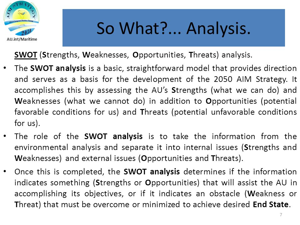 SWOT (Strengths, Weaknesses, Opportunities, Threats) analysis.
