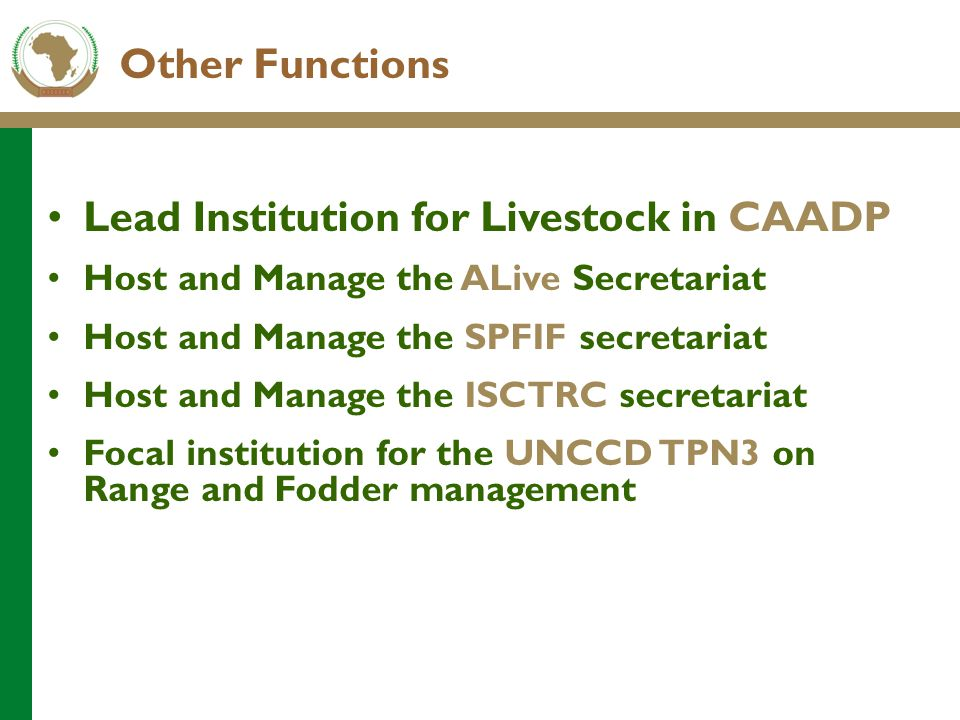 Other Functions Lead Institution for Livestock in CAADP Host and Manage the ALive Secretariat Host and Manage the SPFIF secretariat Host and Manage th