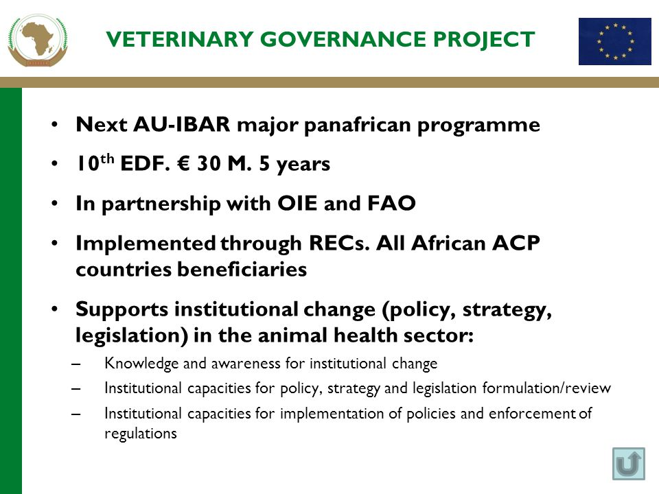 VETERINARY GOVERNANCE PROJECT Next AU-IBAR major panafrican programme 10 th EDF. € 30 M. 5 years In partnership with OIE and FAO Implemented through R