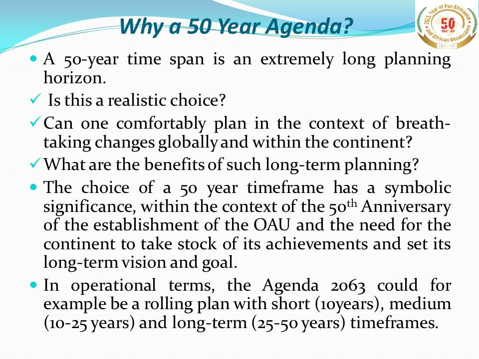 Agenda 2063 – Why is it opportune now.A Changing Global and African Context.